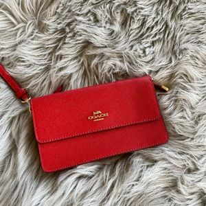NWT Coach crossgrain foldover bright red wristlet